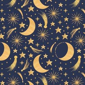 Night sky - Gold on indigo smaller