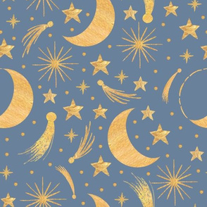 Night sky - Gold on misty blue
