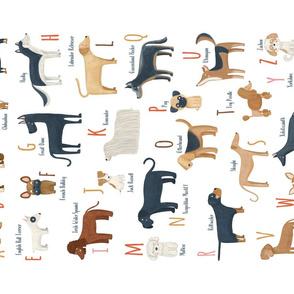Tea towel ABC Dogs breeds alphabet