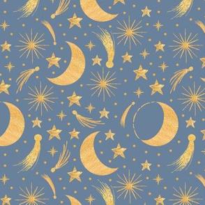 Night sky - Gold on misty blue smaller