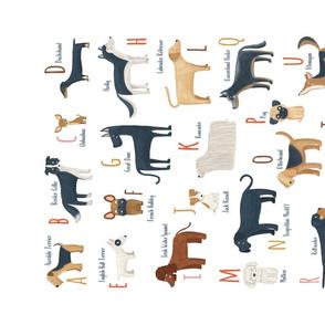 Dogs alphabet tea towel