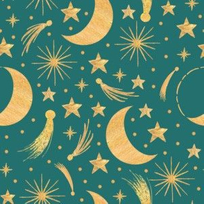 Night sky - Gold on teal smaller
