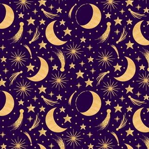 Night sky - Gold on purple