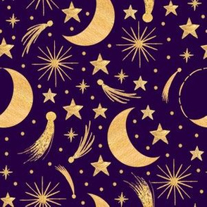 Night sky - Gold on purple smaller