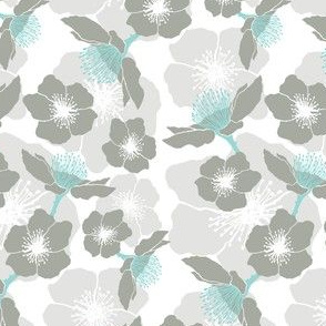 Blackberry Blossom - Black and Teal