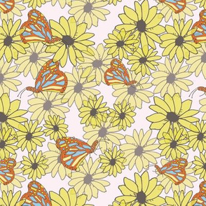 Black-eyed Susans with Butterflies , large scale