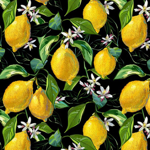 Fresh Lemons | Large | Solid Black