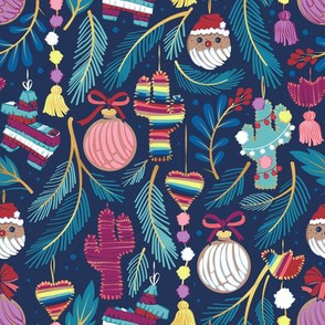 Small scale // Mexican Christmas Tree // blue background blue pine leaves multicoloured holiday decorations pan dulce balls cacti hearts birds pom-pom garland pinatas santa claus conchas donuts