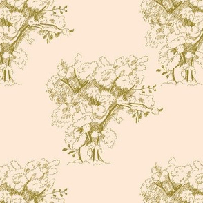 Gold Toile Trees on Pale Peach, Large Scale