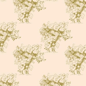 Gold Toile Trees on Pale Peach, Medium Scale