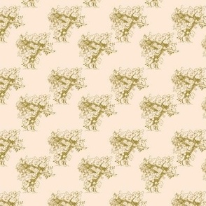 Gold Toile Trees on Pale Peach, Small Scale