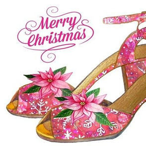 Christmas pink poinsettia snowflake shoes christmas card