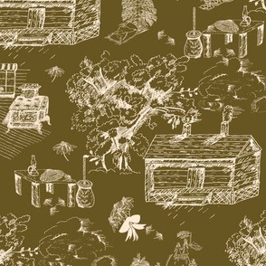 Cream Country Toile on Dark Gold LG Scale