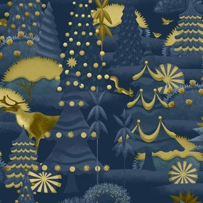 Naval and gold Christmas woods