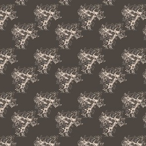 Cream Toile Trees on Gray-Brown Small S cale