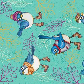 Blue Birds in Boots Tea Towel