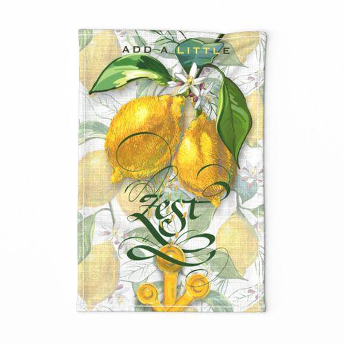 Fresh Lemon Zest Tea Towel   Faux Wt Texture