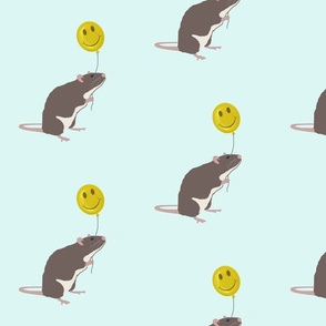 Rat with Happy Face Balloon