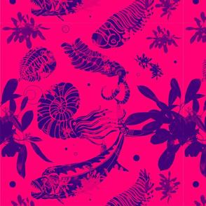 Pink and Blue Paleofish Fabric Large
