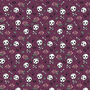 Little roses and bones skulls for girls halloween day of the dead skeleton garden purple aubergine SMALL