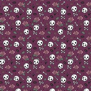 Little roses and bones skulls for girls halloween day of the dead skeleton garden purple aubergine SMALL