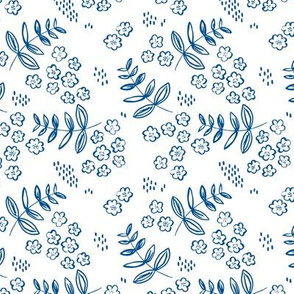 Blue cold winter garden leaves and flowers boho nursery baby SMALL