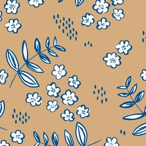 Blue cold winter garden leaves and flowers boho nursery baby caramel brown