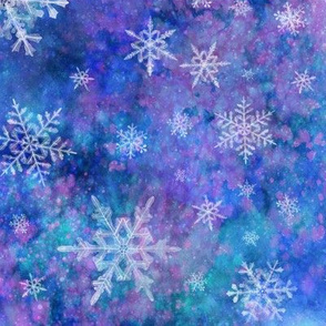 Snowflakes on watercolor background