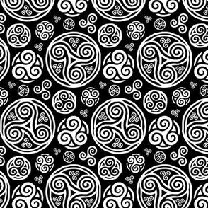 White celtic triskels pattern