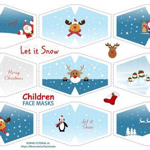 Let it snow Children face masks with Rudolf Santa Snowman