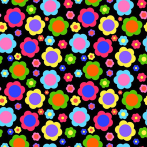 Retro Flower Power Rainbow! - black, medium