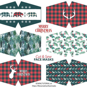 Christmas face masks Cut and Sew panel