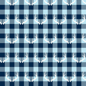 White antlers on Blue checker plaid