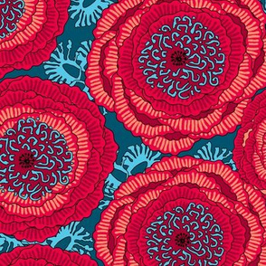 Large poppy flowers on a dark turquoise background
