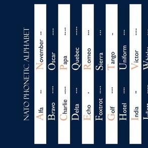 NATO phonetic alphabet & Morse code tea towel fabric