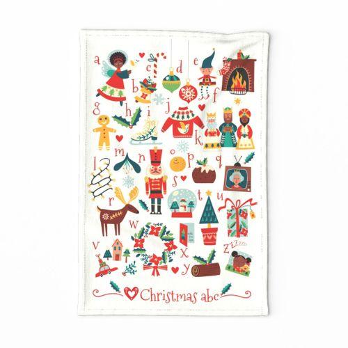 Christmas cheer abc tea towel