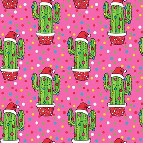 Christmas Cacti on pink