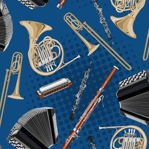 horn, harmonica, accordion, oboe, bassoon and trombone on blue
