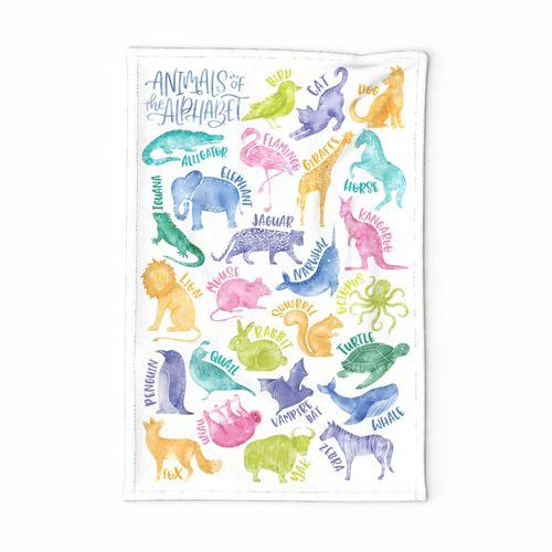 Animal Alphabet Watercolor Zoo ABCs Tea Towel