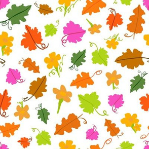 Pumpkin Flowers and Leaves