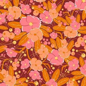Small retro flowers. Pink, orange, peach on a burgundy background