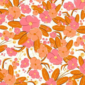 Small retro flowers. Pink, orange, peach on a white background