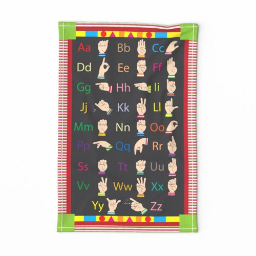 ABC American Sign Language - Tea Towel - Learn colors and shapes too!  Must purchase on Linen Cotton Canvas for correct sizing.