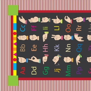 ABC American Sign Language Tea Towel - Learn colors and shapes too!  Must purchase on Linen Cotton Canvas for correct sizing.