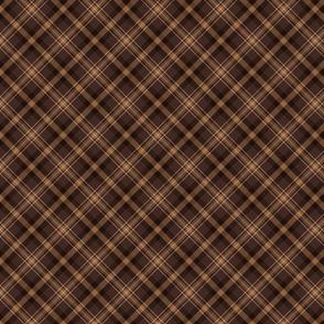 Dark Brown Diagonal Plaid