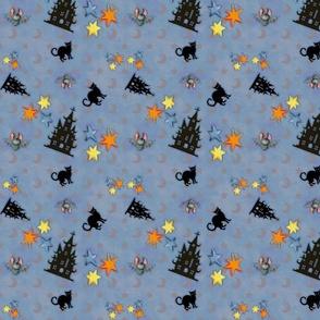 Scaredy Cat Blue Gray Background
