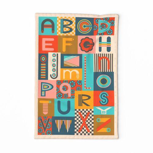Geometric ABC Alphabet Letter Tea Towel - UnBlink Studio by Jackie Tahara