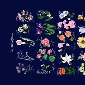 The ABCs of Flowers Tea Towel