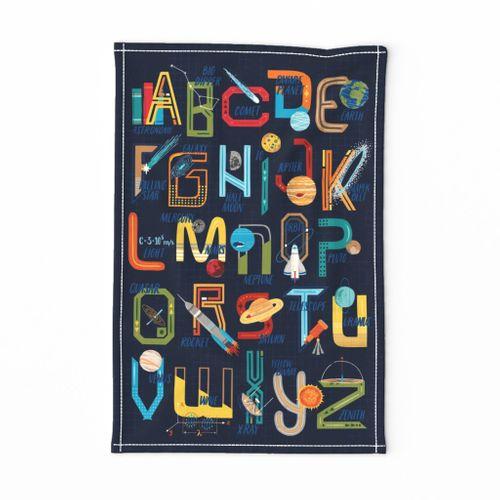 Outer Space Alphabet // Rocket, Planets, Science, Astronomy, STEM, Stars, Electromagnetics, Education, Homeschool, Tea Towel, Wall Art, Boys Art // © ZirkusDesign