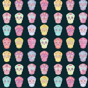Watercolor Sugar Skulls Dark Small